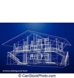 blåkopia, vektor, house., arkitektur