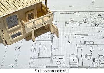 blåkopior, arkitektonisk