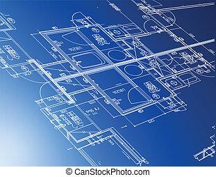 blåkopior, arkitektonisk, prov