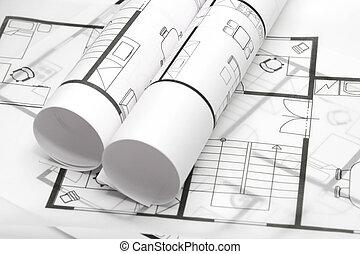 blåkopior, av, arkitektur
