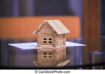 blåkopior, hus, hus, -, projekt, bygga, house., färsk