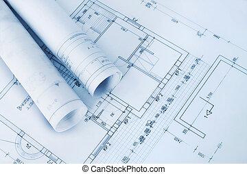 blåkopior, konstruktion, plan