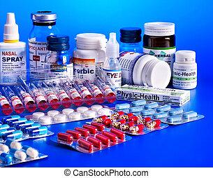 blåsa packa, av, pills., remedy.