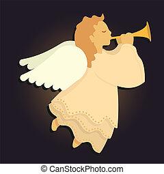 blåsning, ängel, horn