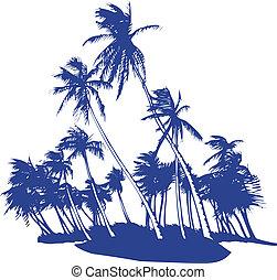 blåsning, palmträdar