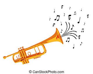 blåsning, trumpet, noterar.