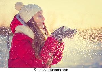 blåsning, vinter, skönhet, snö, park., kall, utomhus, flicka