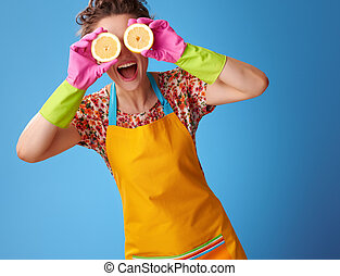 blått synar, citron, hemmafru, holdingen, halvt, främre del, le