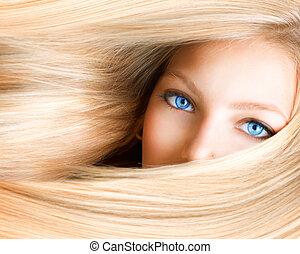 blått synar, kvinna, girl., blond, blondin