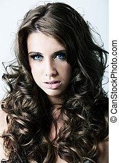 blått synar, kvinna, lockig, långt hår, stående