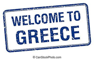blåttar kvadrerar, grunge, stämpel, välkommen, grekland