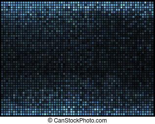 blåttar kvadrerar, lyse, abstrakt, disko, bakgrund., flerfärgad, vektor, bildpunkt, mosaik