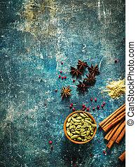 blåttar stenar, utrymme, text., bakgrund, kryddor