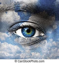 blåttar synar, med, blåttsky, mönster, -, själslig, begrepp