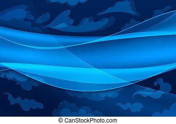 blåttbakgrund, -, abstrakt, vågor, och, stylized, skyn