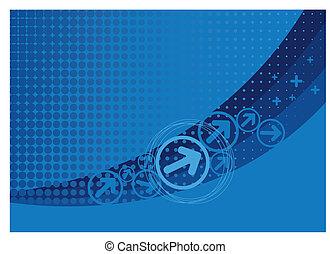 blåttbakgrund, med, halftone, och, pilar