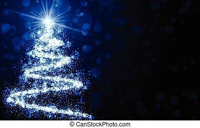 blåttbakgrund, med, jul, träd.