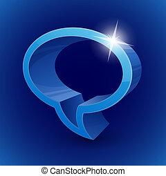 blåttbakgrund, symbol, pratstund, 3, bubbla, lysande