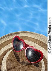 blåtthatt, solglasögon, röd, slå samman