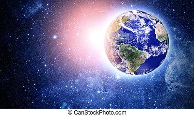 blåttplanet, in, vacker, utrymme