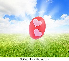 blåttsky, ägg, gräs, påsk