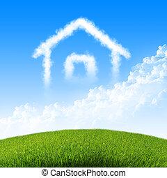 blåttsky, hus, skyn