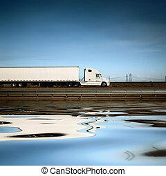 blåttsky, lastbil, under, vit, väg