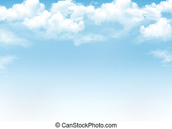 blåttsky, med, clouds., vektor, bakgrund