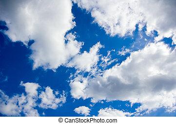blåttsky, med, skyn