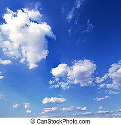 blåttsky, med, vita sky