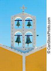 blåttsky, mot, grekisk kyrka, sätta en klocka på