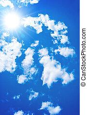 blåttsky, sol, skyn, lysande, vit