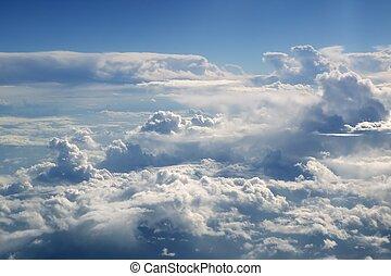 blåttsky, synhåll, från, flygplan, airplane