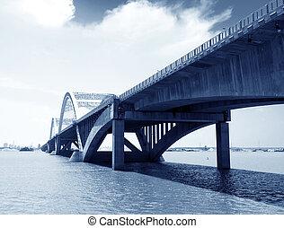 blåttsky, under, den, bro