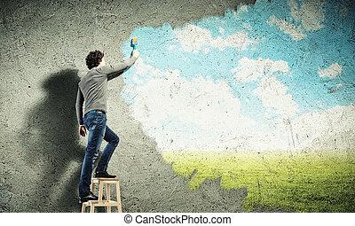 blåttsky, ung, molnig, teckning, man