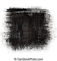 blæk, sort, firkantet