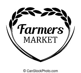 blé, agriculteurs, seigle, -, isolé, arrière-plan., vecteur, logo, blanc, bannière, marché
