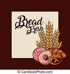 blé, beignets, bretzel, boulangerie, affiche, frais, entier, pain