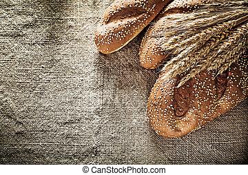 blé, burlap, fond, pain croustillant, oreilles
