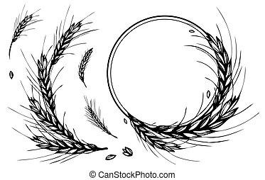 blé, cadre, couronne, rond, seigle, orge, ou