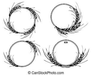 blé, couronne, rond, seigle, orge, cadres, ou