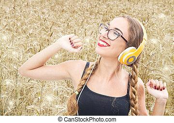 blé, danse, jeune, champ, musique écouter, girl