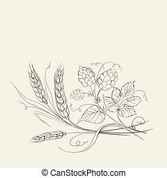 blé, doré, houblon, sépia