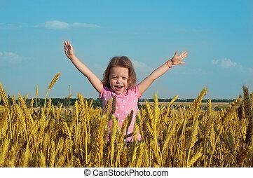 blé, elle, haut, champ, mains, girl, heureux
