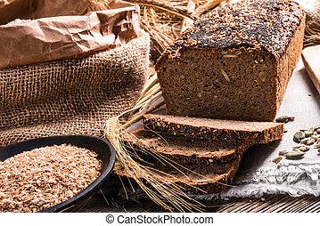 blé entier, fait maison, pain