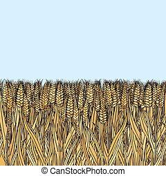 blé, griffonnage, résumé, seamless, vecteur, modèle, dessin animé
