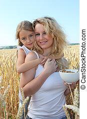 blé, mère, bol, champ, enfant, céréales