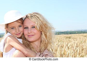 blé, mère, ensoleillé, champ, enfant, jour