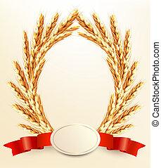 blé, mûre, jaune, vecteur, fond, ribbons., rouges, oreilles