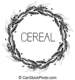 blé, malt, rond, seigle, orge, cadre